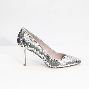 Chinese Laundry Sequin Heels New Stiletto Silver